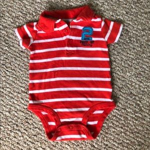Carter's red striped bodysuit 6 months